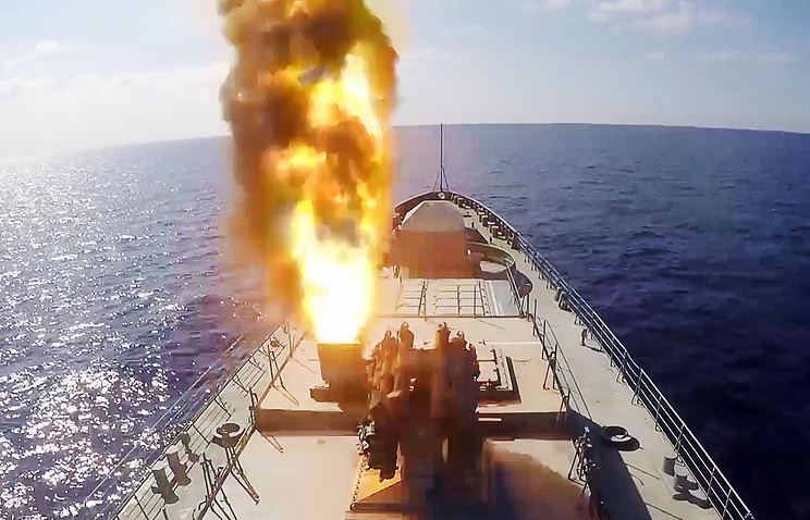 Kalibr cruise missiles launched by a Russian Navy ship