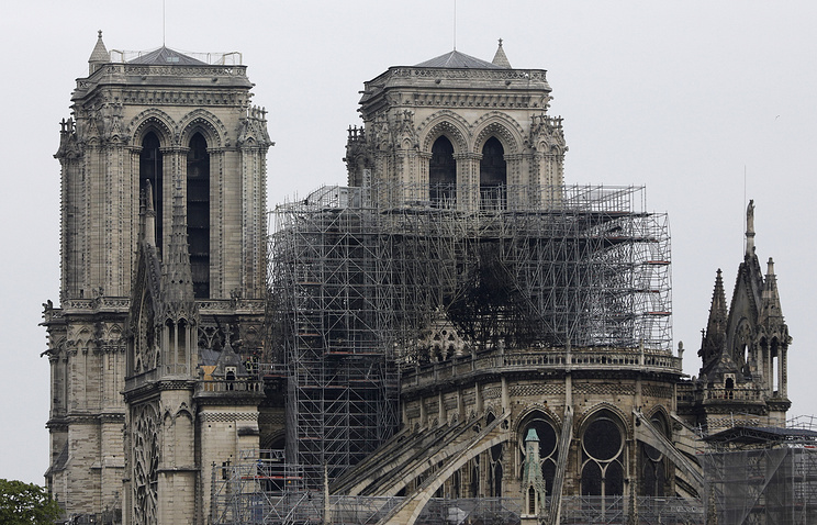 View of the Notre Dame cathedral after the fire in Paris