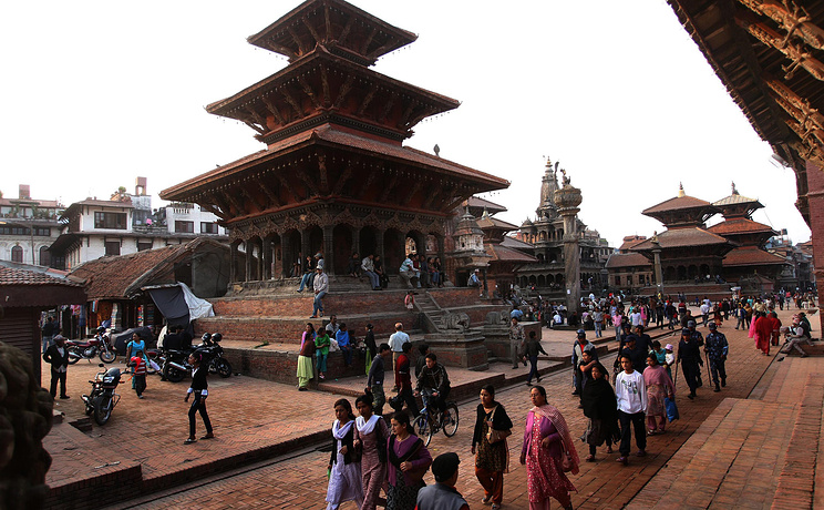 A combo of a picture (above) taken on 2008 April showing the Patan Durbar Square in Kathmandu, Nepal, before the 25 April 2015 earthquake and a picture (below) taken on 20 May 2015 showing the Patan Durbar Square in Kathmandu after the 25 April 2015 earthquake. The death toll rose to 117, authorities said, separate from the 8,202 victims claimed by the April 25 earthquake. EPA/HARISH TYAGI