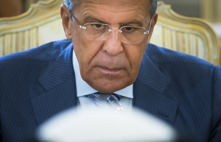 Russian Foreign Minister Sergey Lavrov at a meeting with his Saudi counterpart Adel al-Jubeir