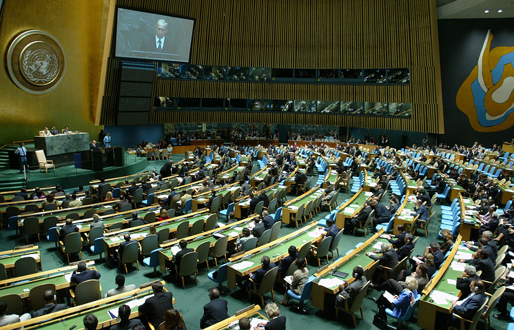 Russian President Vladimir Putin addressing the General Assembly at the UN headquarters, 2003