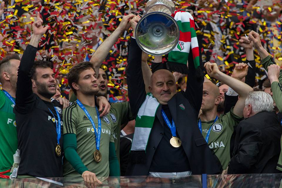 Stanislav Cherchesov holds the trophy after winning the Final of Polish Cup at the National Stadium in Warsaw, 2016 Mateusz Wlodarczyk/NurPhoto via Getty Images